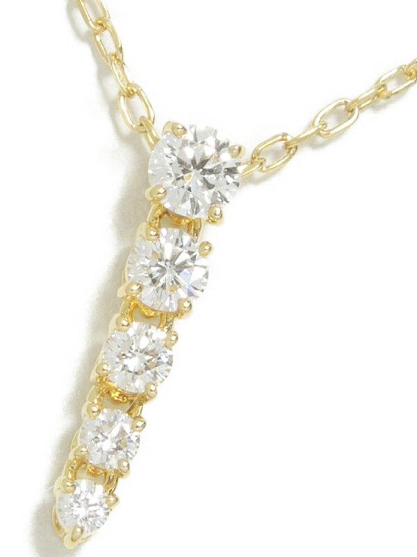 【MIKIMOTO】ミキモト『K18YGネックレス 5Pダイヤモンド0.37ct』1週間保証【中古】