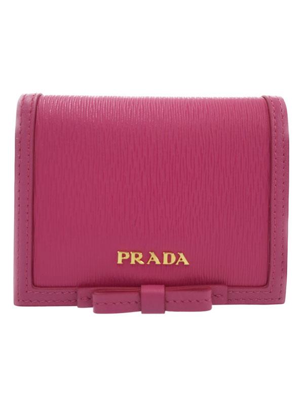 【PRADA】プラダ『リボン 二つ折り短財布』1MV204 レディース 1週間保証【中古】