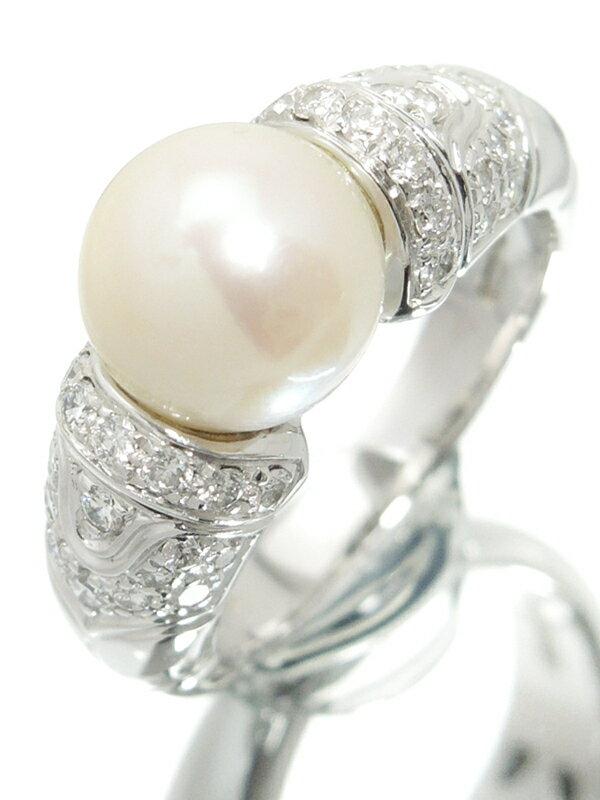 【BVLGARI】【仕上済】ブルガリ『K18WG パッソ ドッピオ リング パール8.9mm ダイヤモンド』11.5号 1週間保証【中古】