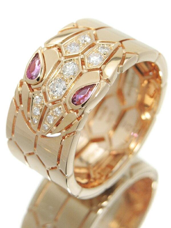 【BVLGARI】【SERPENTI】【ルベライト】【仕上済】ブルガリ『K18PG セルペンティ リング トルマリン ダイヤモンド』22号 1週間保証【中古】