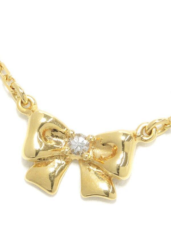 【TASAKI】タサキ『K18YGネックレス ダイヤモンド0.02ct リボンモチーフ』1週間保証【中古】