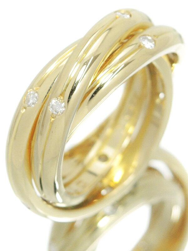 【Cartier】【仕上済】カルティエ『K18YG トリニティ リング ダイヤモンド』9号 1週間保証【中古】