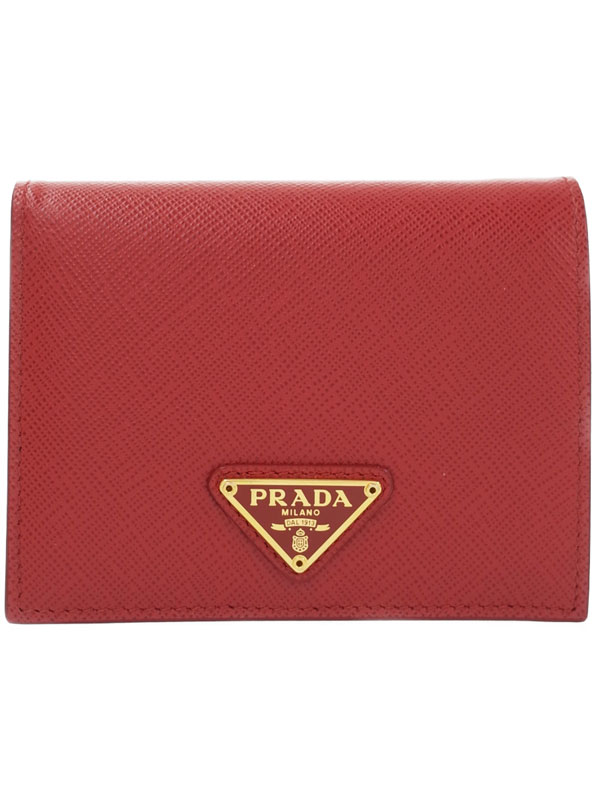【PRADA】プラダ『ローズ レザー 二つ折り短財布』1MV204 レディース 1週間保証【中古】