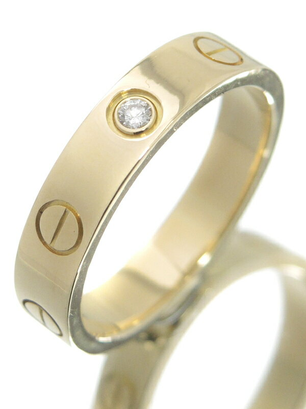 【Cartier】【ウェディング】【仕上済】カルティエ『K18YG ミニラブリング 1Pダイヤモンド』9号 1週間保証【中古】
