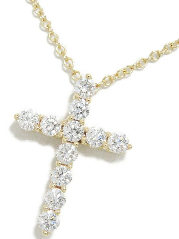 【TIFFANY&Co.】ティファニー『K18YG スモール クロス ペンダント ネックレス ダイヤモンド』1週間保証【中古】