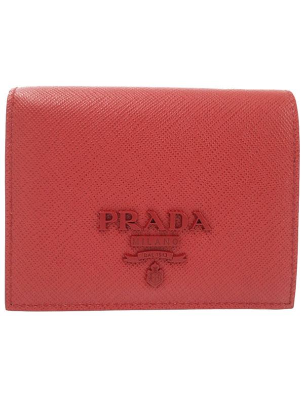 【PRADA】プラダ『レザー 二つ折り短財布』1MV204 レディース 1週間保証【中古】