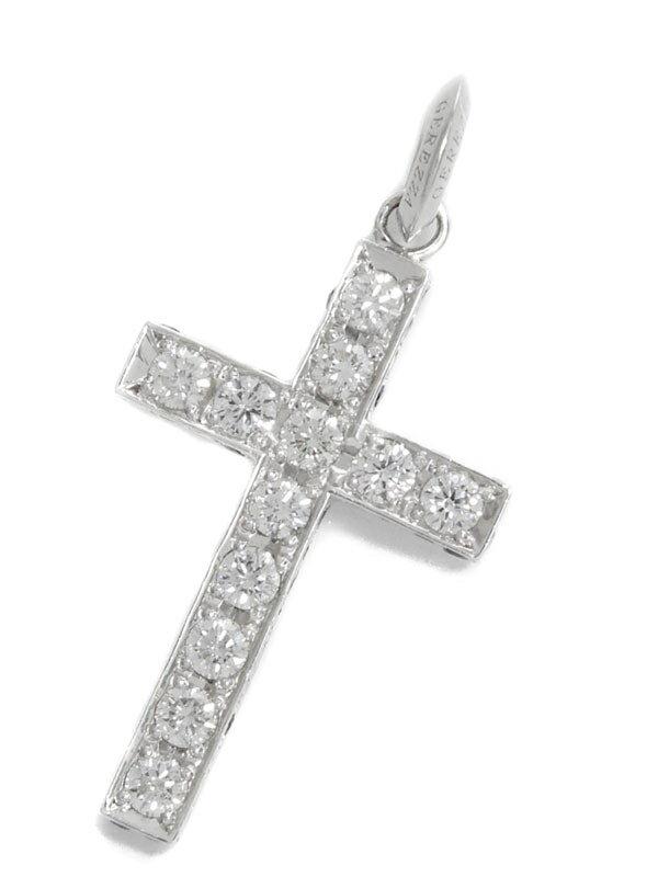 【GEREZZA】【十字架】ジュレッツァー『K10WG ペンダントトップ ダイヤモンド1.08ct ブラックダイヤ0.70ct クロスモチーフ』1週間保証【中古】