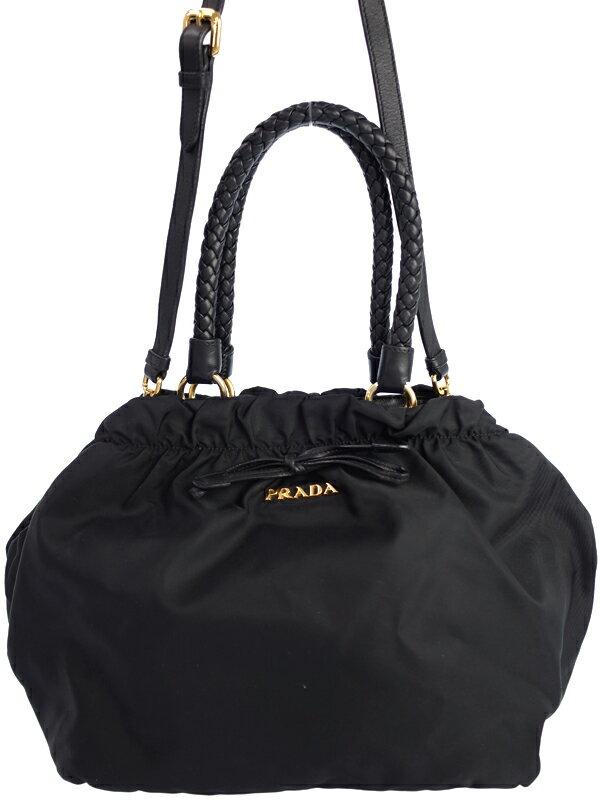 【PRADA】プラダ『リボン付 2WAYハンドバッグ』レディース 2WAYバッグ 1週間保証【中古】