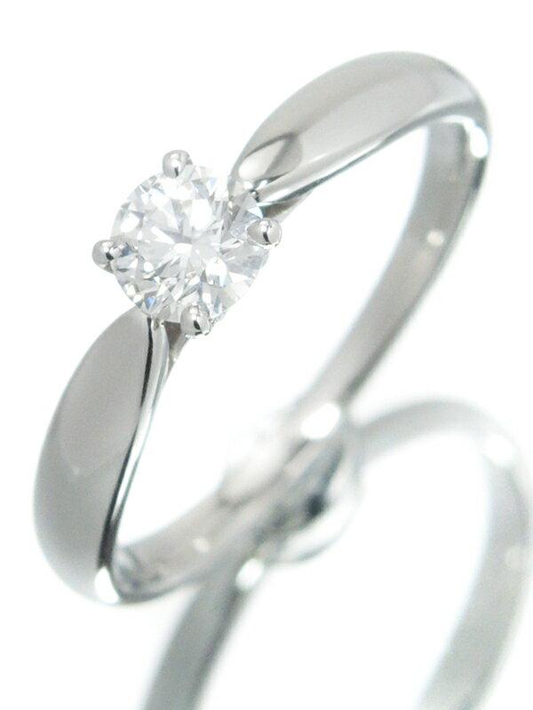 【TIFFANY&Co.】【鑑定書】【仕上済】ティファニー『PT950 ハーモニーリング 1Pダイヤモンド0.29ct/F/VVS-1/EXCELLENT』9号 1週間保証【中古】