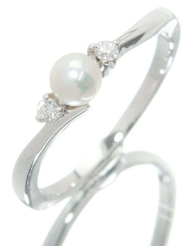 【MIKIMOTO】ミキモト『K18WGリング パール ダイヤモンド』13号 1週間保証【中古】