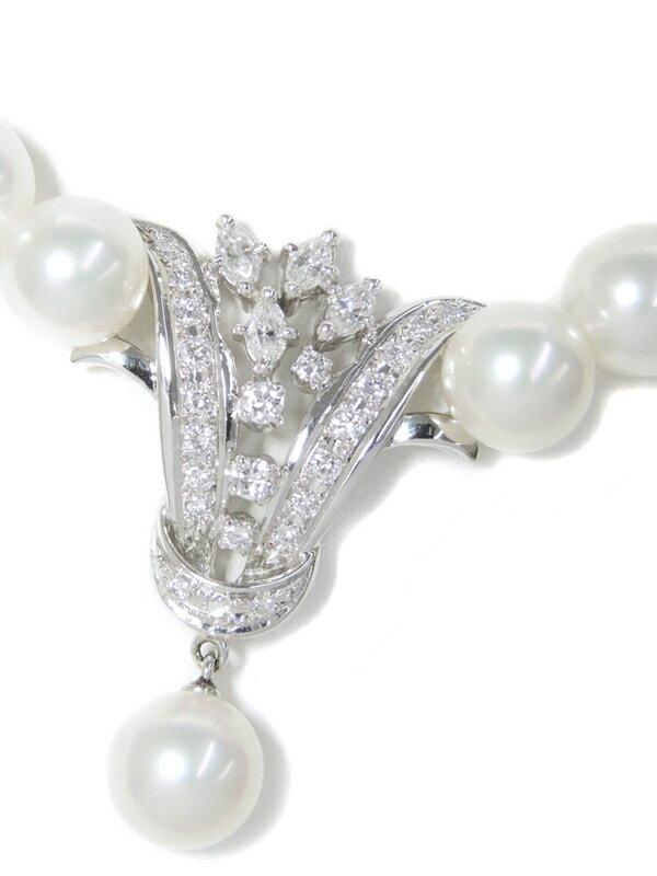 【MIKIMOTO】ミキモト『K14WG パール7.0〜7.5mm ダイヤモンド0.48ct 0.28ct ネックレス』1週間保証【中古】