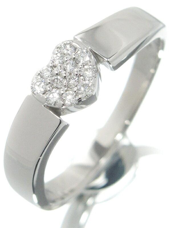 【Ponte Vecchio】【仕上済】【パヴェダイヤ】ポンテヴェキオ『K18WG リング ハートモチーフ ダイヤモンド0.12ct』11.5号 1週間保証【中古】