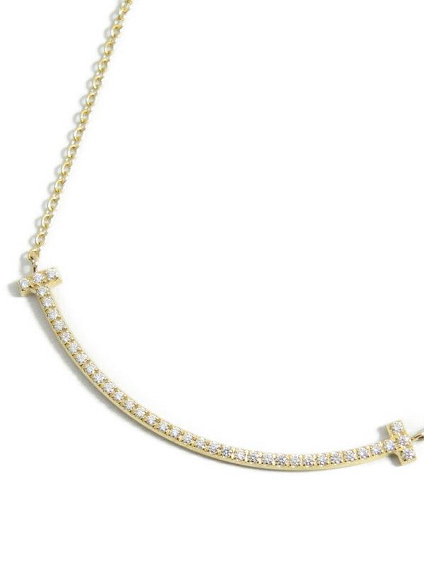 【TIFFANY&Co.】ティファニー『K18YG Tスマイル ペンダント ネックレス ダイヤモンド スモール』1週間保証【中古】