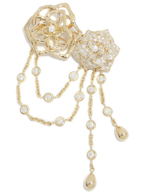 【PIAGET】【Piaget Rose】【パヴェダイヤ】ピアジェ『K18PG ローズ ブローチ ダイヤモンド』1週間保証【中古】