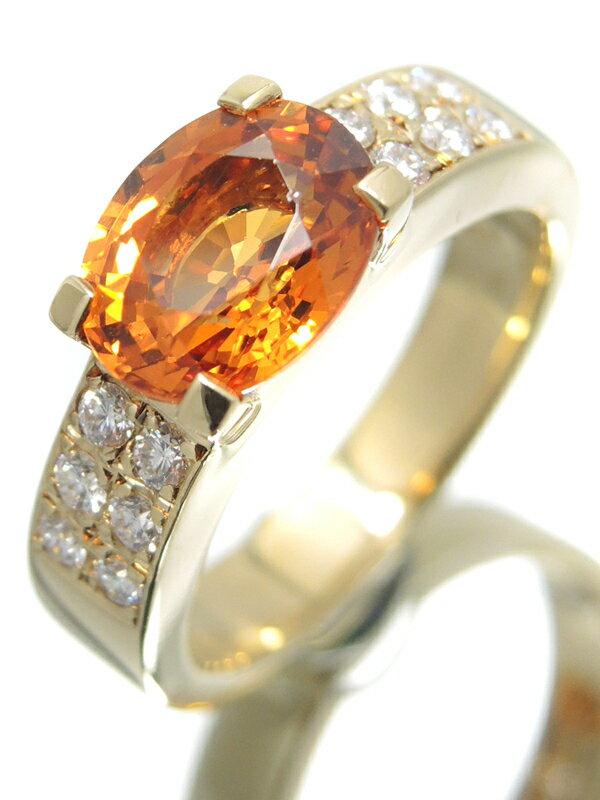 【TASAKI】【ソーティング】タサキ『K18YG リング スペサルティンガーネット2.83ct ダイヤモンド0.27ct』11号 1週間保証【中古】