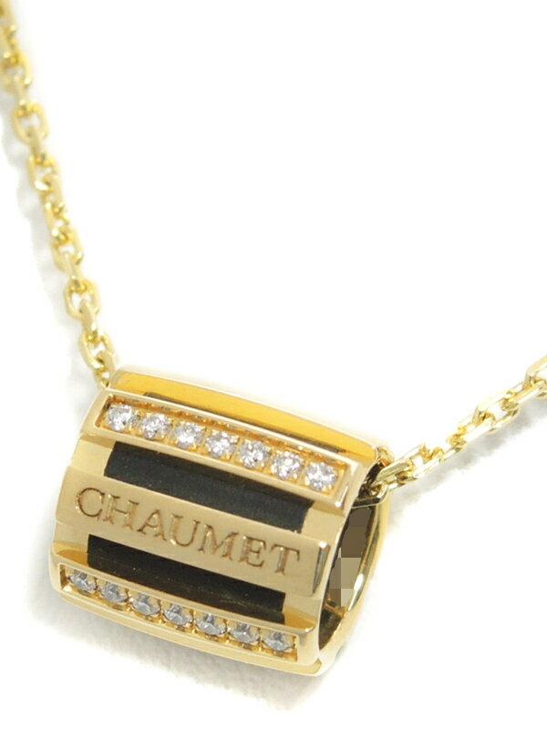 【CHAUMET】【Class One】【仕上済】【チェーン社外品】ショーメ『K18YG クラスワン ダイヤモンド ネックレス』1週間保証【中古】
