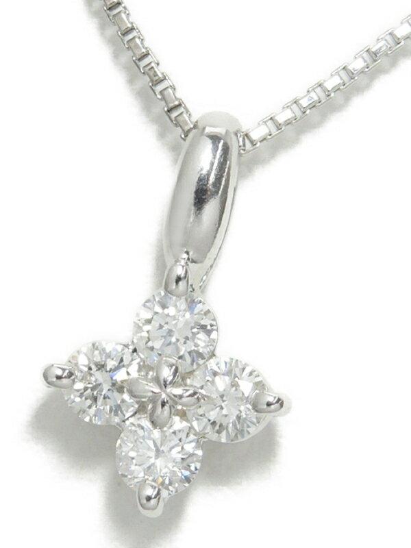 【TASAKI】タサキ『K18WG ネックレス ダイヤモンド0.24ct フラワーモチーフ』1週間保証【中古】