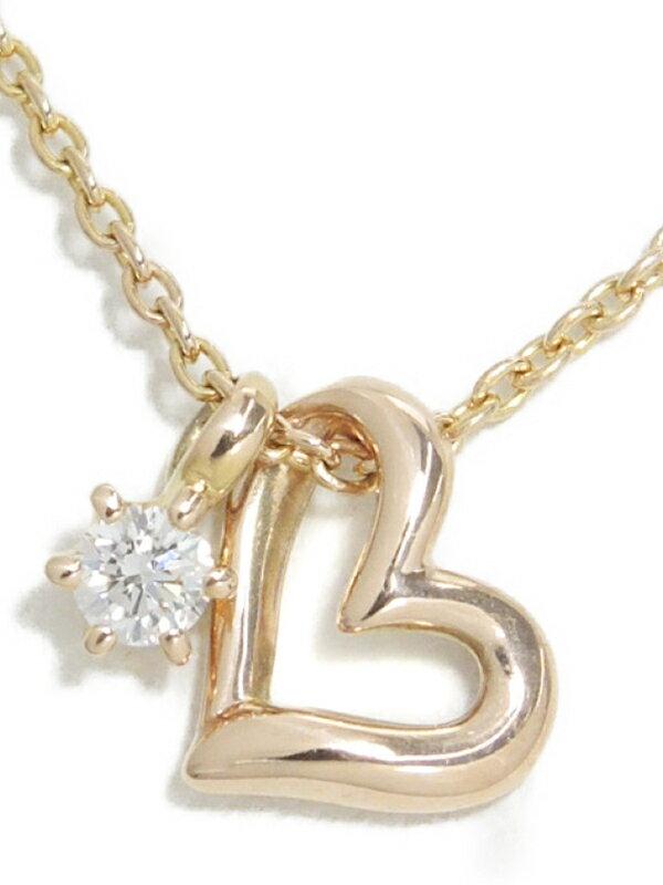 【TASAKI】タサキ『K18PG ネックレス ダイヤモンド0.04ct ハートモチーフ』1週間保証【中古】
