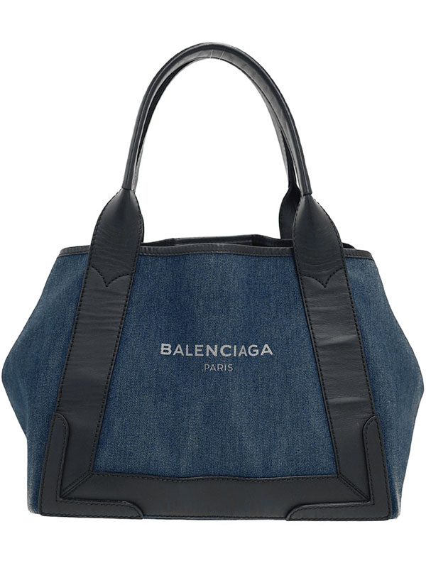 【BALENCIAGA】【ポーチ付】バレンシアガ『ネイビー カバS』339933 レディース ハンドバッグ 1週間保証【中古】