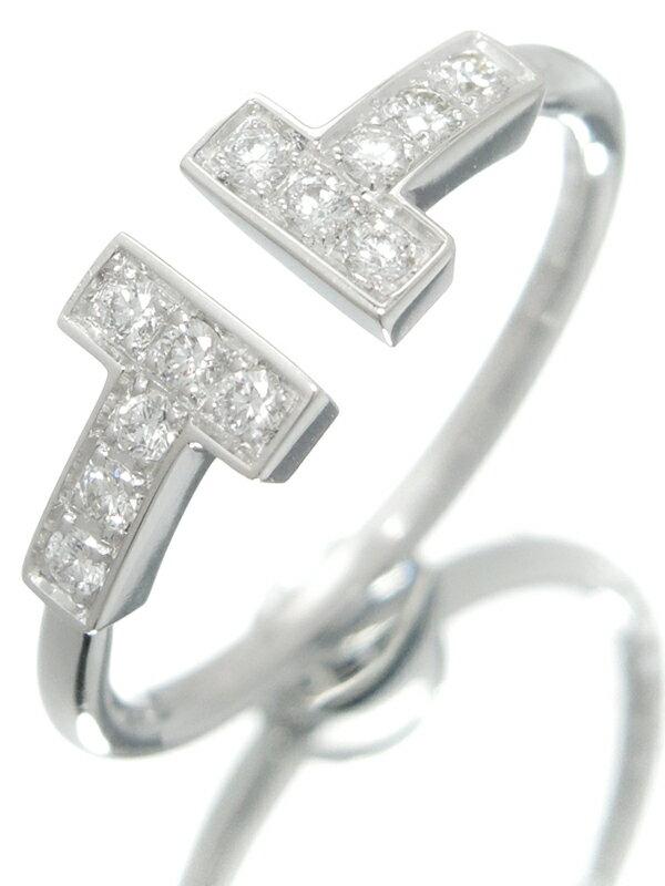 【TIFFANY&Co.】【仕上済】ティファニー『K18WG Tワイヤー リング ダイヤモンド』9号 1週間保証【中古】
