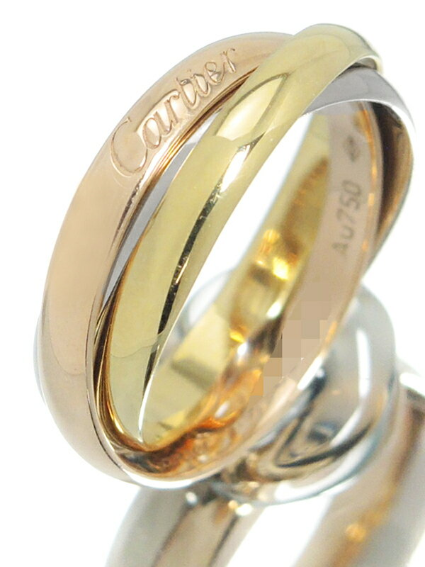 【Cartier】【スリーカラーゴールド】【仕上済】カルティエ『K18YG/K18PG/K18WG トリニティ リング』8.5号 1週間保証【中古】