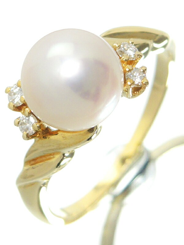 【MIKIMOTO】【仕上済】ミキモト『K18YG リング パール7.5mm ダイヤモンド』9号 1週間保証【中古】