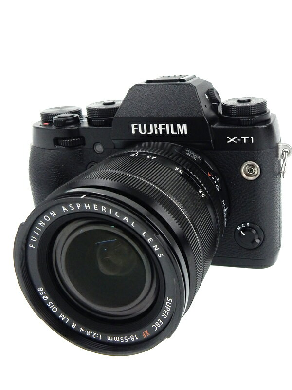 【FUJIFILM】富士フイルム『X-T1ズームレンズキット』FX-T1B/1855KIT ブラック 1630万画素 APS-C ミラーレス一眼カメラ 1週間保証【中古】