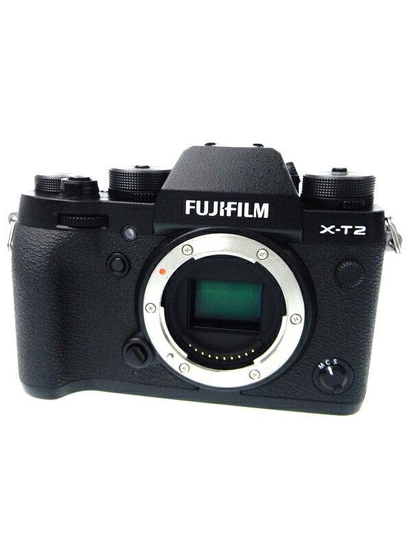 【FUJIFILM】富士フイルム『X-T2』F X-T2-B ブラック ボディ 2430万画素 APS-C SDXC 4K動画 ミラーレス一眼カメラ 1週間保証【中古】