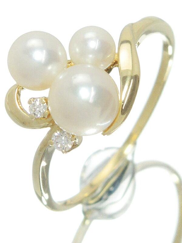 【MIKIMOTO】ミキモト『K18YG リング パール ダイヤモンド』12号 1週間保証【中古】