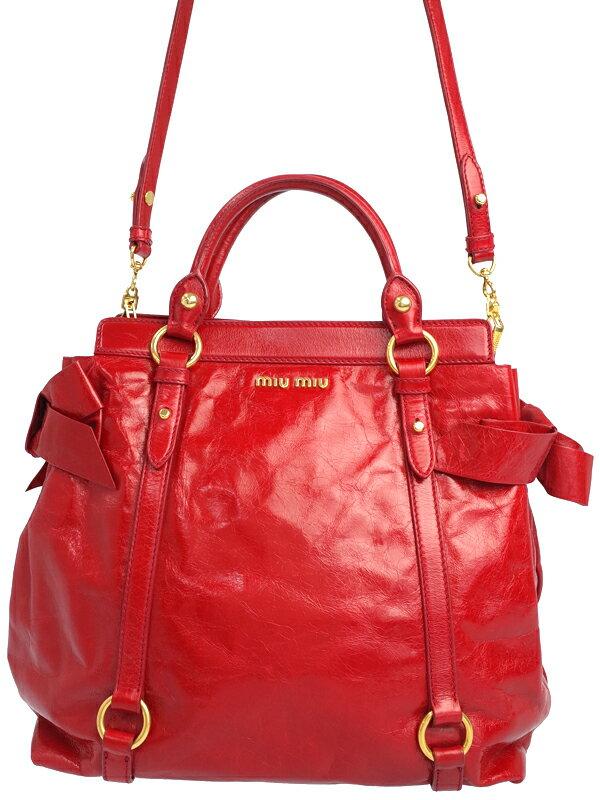 【MIU MIU】ミュウミュウ『サイドリボン 2WAYハンドバッグ』レディース 2WAYバッグ 1週間保証【中古】