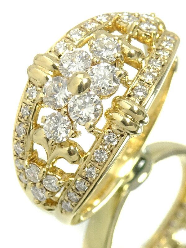 【TASAKI】【仕上済】タサキ『K18YG リング ダイヤモンド0.67ct フラワーモチーフ』10.5号 1週間保証【中古】