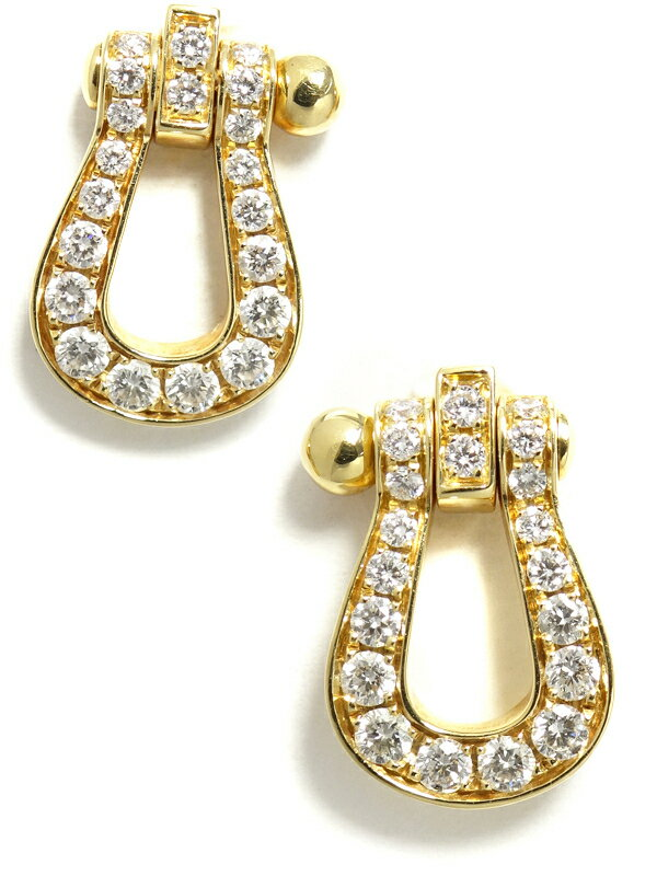 【FRED】フレッド『K18YG フォース10 ピアス ミディアムサイズ ダイヤモンド』8B0232 1週間保証【中古】