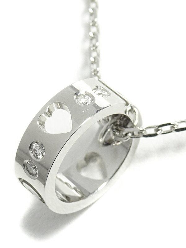 【GUCCI】グッチ『K18WG アイコン アモール ハート ネックレス 8Pダイヤモンド』1週間保証【中古】