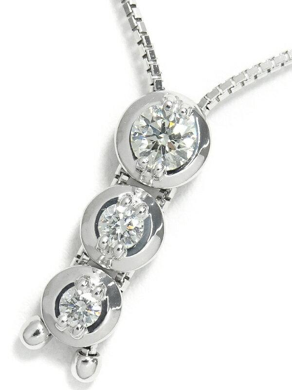 【TASAKI】【トリロジー】タサキ『K18WG ネックレス 3Pダイヤモンド0.39ct』1週間保証【中古】