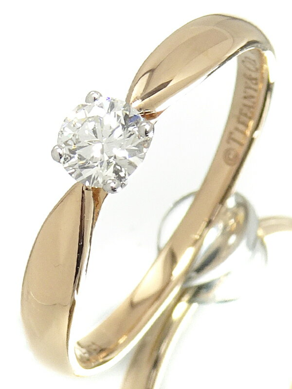 【TIFFANY&Co.】【鑑定書】ティファニー『K18PG/PT950 ハーモニー リング 1Pダイヤモンド0.25ct/I/VVS-1/EXCELLENT』12号 1週間保証【中古】