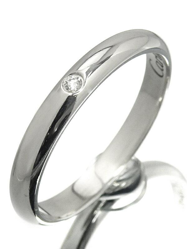 【Cartier】【1895】カルティエ『PT950 クラシック ウェディング リング 1Pダイヤモンド』10号 1週間保証【中古】