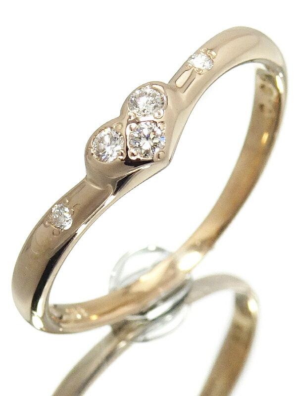 【StarJewelry】【仕上済】スタージュエリー『K18PG ハート リング ダイヤモンド0.06ct』9号 1週間保証【中古】