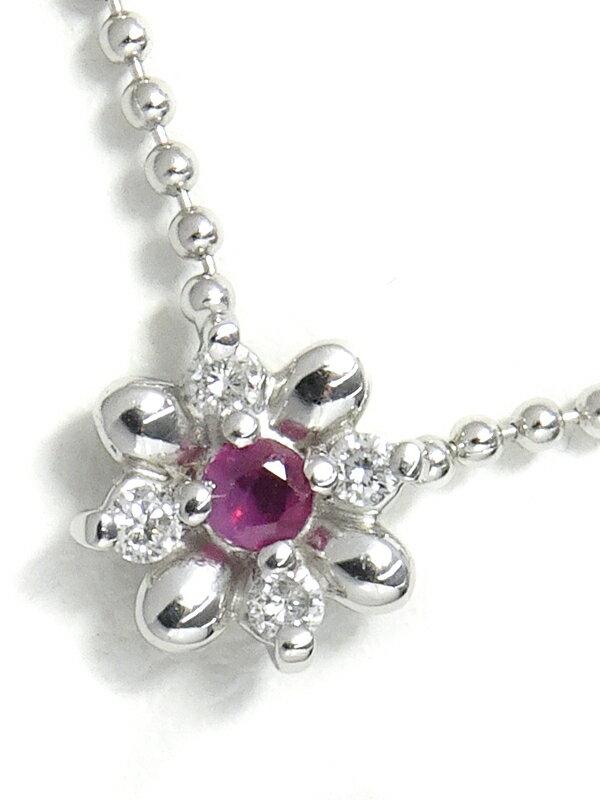 【Star Jewelry】スタージュエリー『K18WG フラワーモチーフ ネックレス ルビー ダイヤモンド』1週間保証【中古】