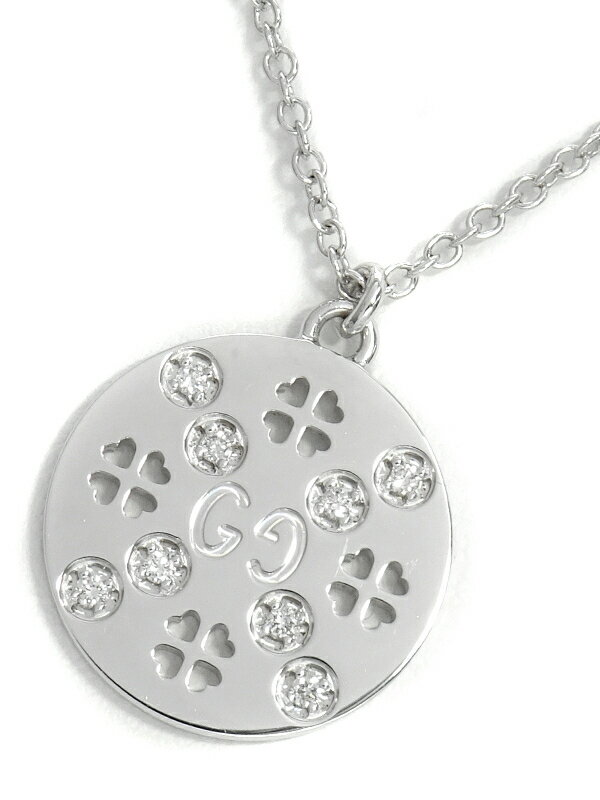 【GUCCI】【クローバー】【日本限定】グッチ『K18WG アイコンアモール フォーエバー ネックレス ダイヤモンド』1週間保証【中古】