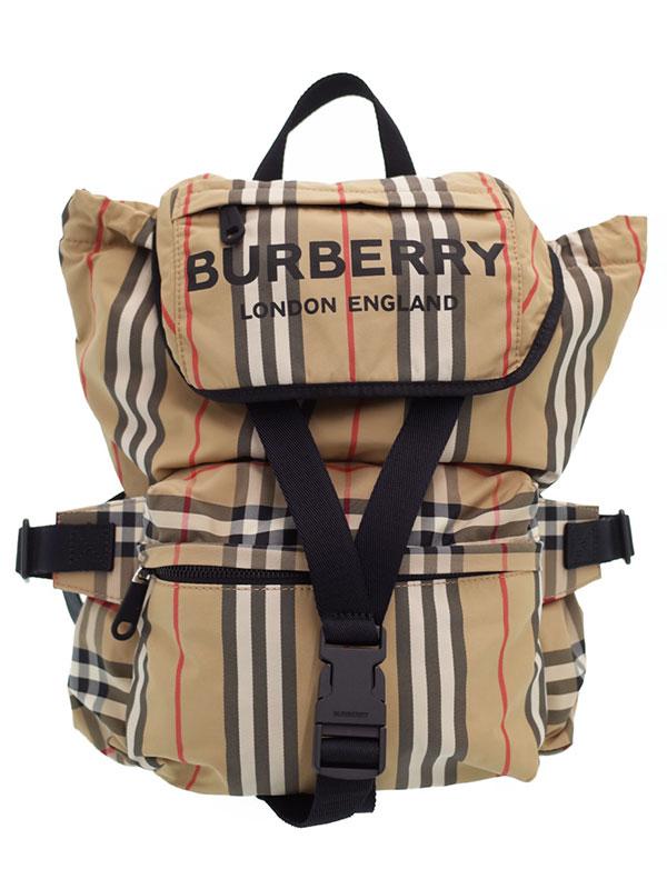 【BURBERRY】バーバリー『ロゴ プリント アイコンストライプ リュックサック』8014751 ユニセックス バックパック 1週間保証【中古】