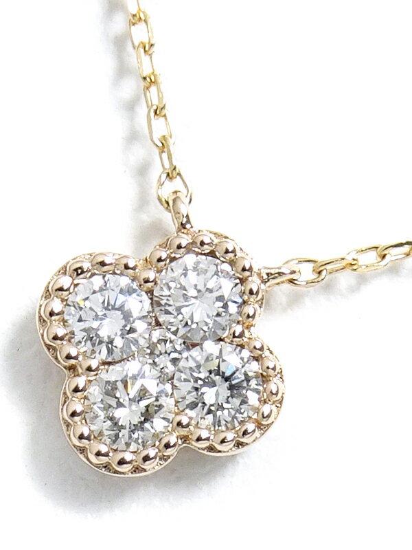 【Vendome Aoyama】ヴァンドーム青山『K18PG ダイヤモンド フラワー ネックレス』1週間保証【中古】