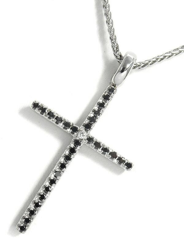 【DAMIANI】ダミアーニ『K18WG ミステリークロス ペンダント ネックレス ダイヤモンド ブラックダイヤ』1週間保証【中古】