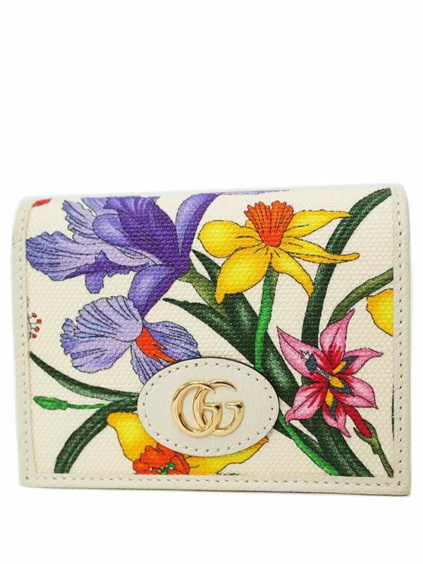 【GUCCI】グッチ『フローラ 二つ折り短財布』577347 レディース 1週間保証【中古】