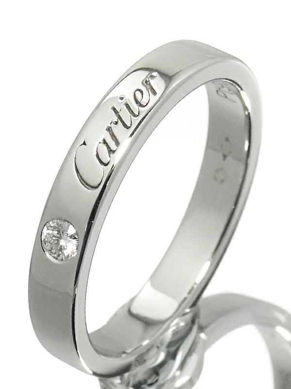 【Cartier】【C ドゥ カルティエ】カルティエ『PT950 エングレーブド リング 1Pダイヤモンド』9号 1週間保証【中古】