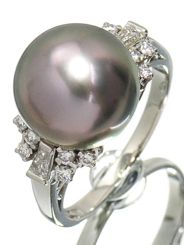 【MIKIMOTO】【仕上済】ミキモト『PT900 パ—ル11.3mm ダイヤモンド リング』13号 1週間保証【中古】