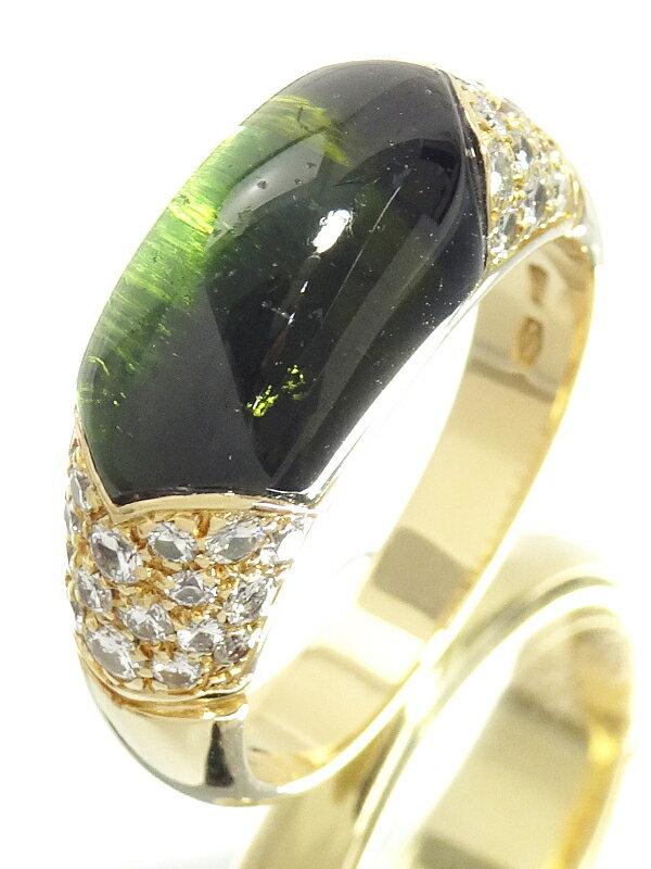 【BVLGARI】【メーカー仕上済】ブルガリ『K18YG チェルタウラ リング トルマリン ダイヤモンド』12号 1週間保証【中古】