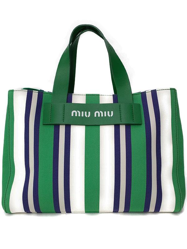 【MIU MIU】ミュウミュウ『ロゴ ストライプ ハンドバッグ』5BA111 レディース 1週間保証【中古】