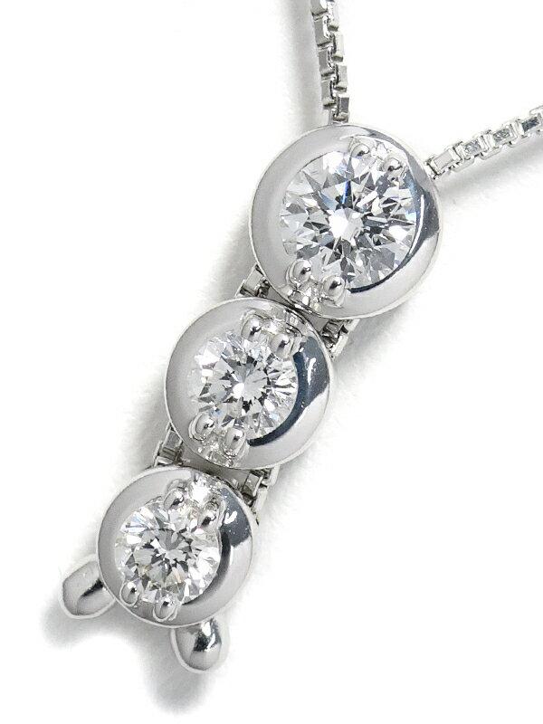 【TASAKI】【トリロジー】タサキ『K18WG ネックレス 3Pダイヤモンド0.51ct』1週間保証【中古】