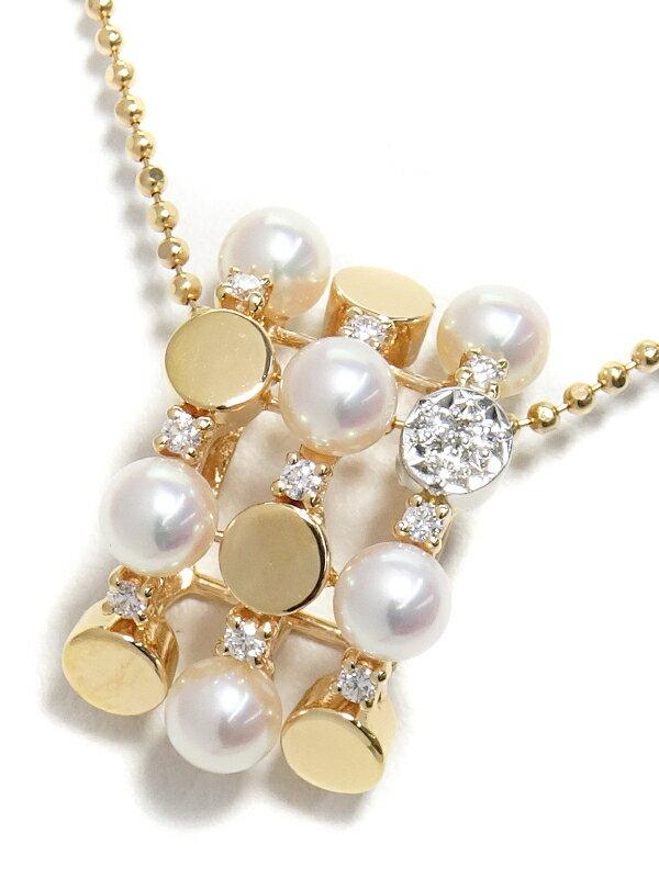 【TASAKI】タサキ『K18PG/PT900 パール ダイヤモンド0.11ct ネックレス』1週間保証【中古】