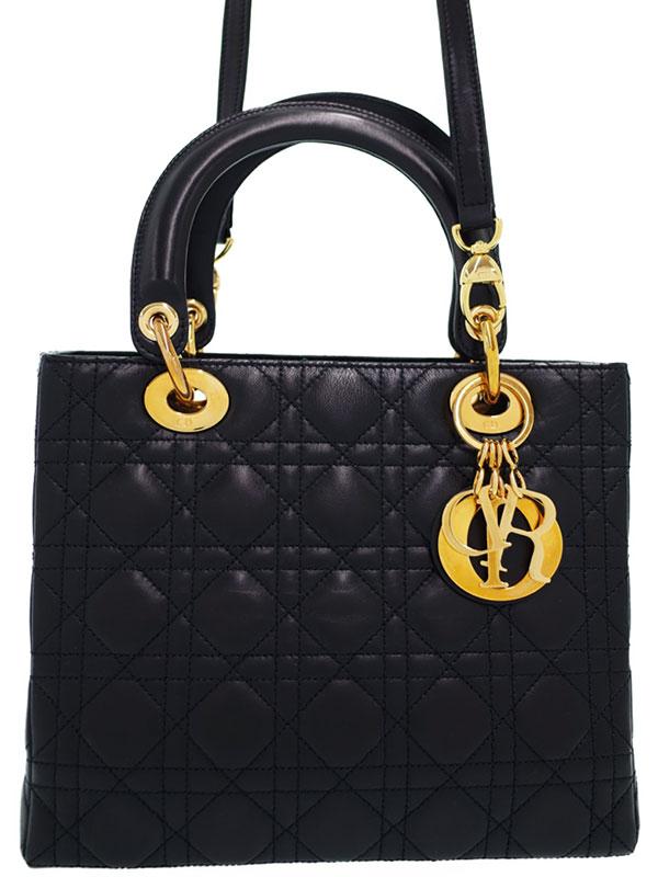 【Christian Dior】【カナージュ】クリスチャンディオール『レディディオール(M)』CAL44550N0 レディース 2WAYバッグ 1週間保証【中古】